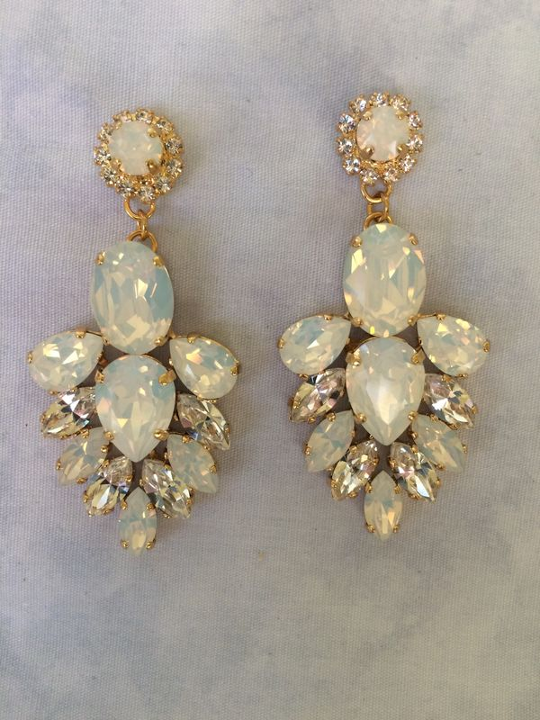 White Opal Crystal Bridal Statement Earrings