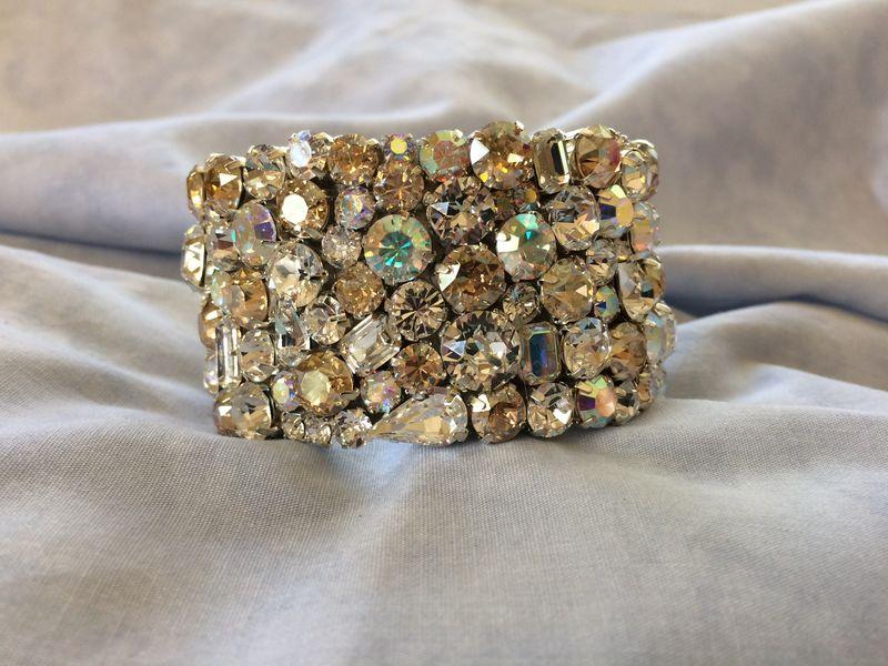 Champagne Swarovski Crystal Wedding Statement Bracelet Product Images Of
