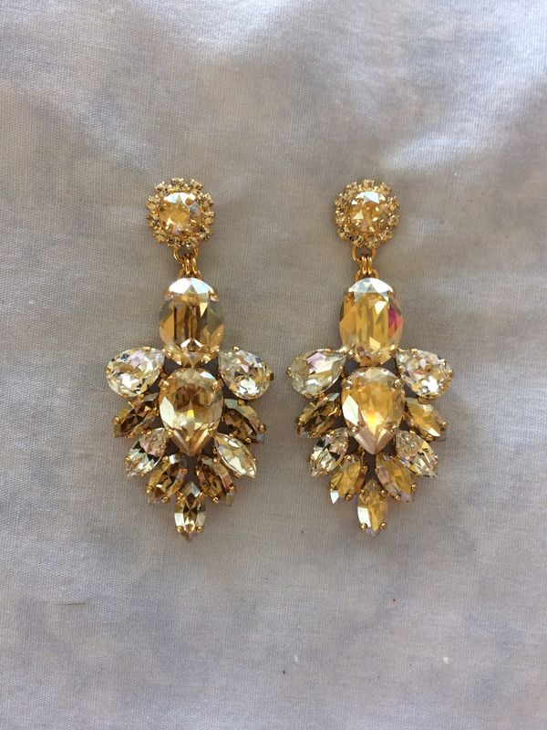 Champagne Swarovski Crystal Wedding Statement Earrings Product Images Of
