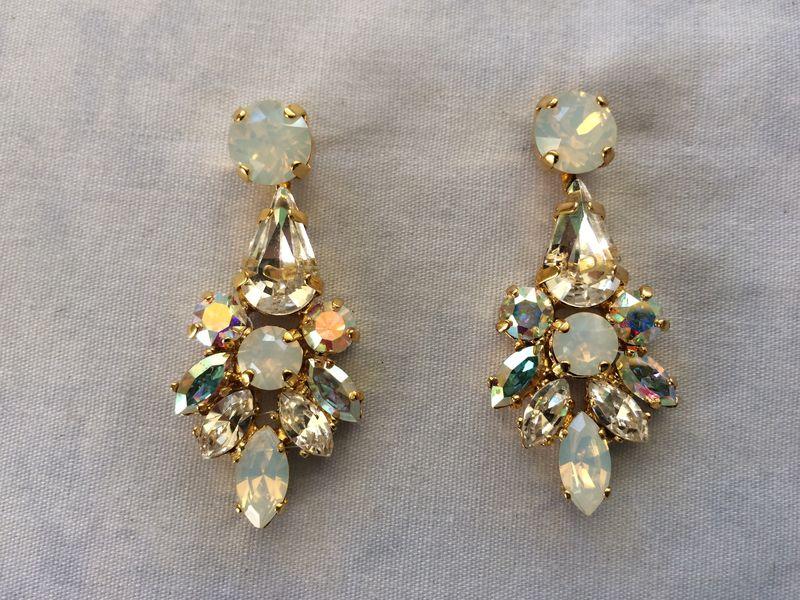 Swarovski White Opal Crystal Dangle Bridal Statement Earrings