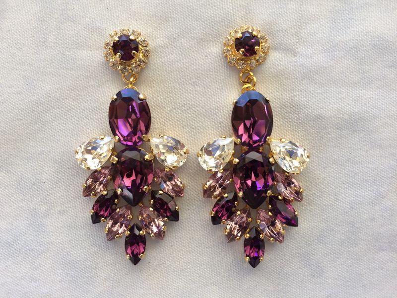 Amethyst Swarovski Crystal Statement Dangle Earrings