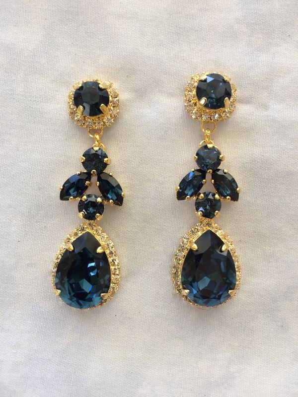 Navy Blue Swarovski Crystal Embellished Teardrop Dangle Earrings