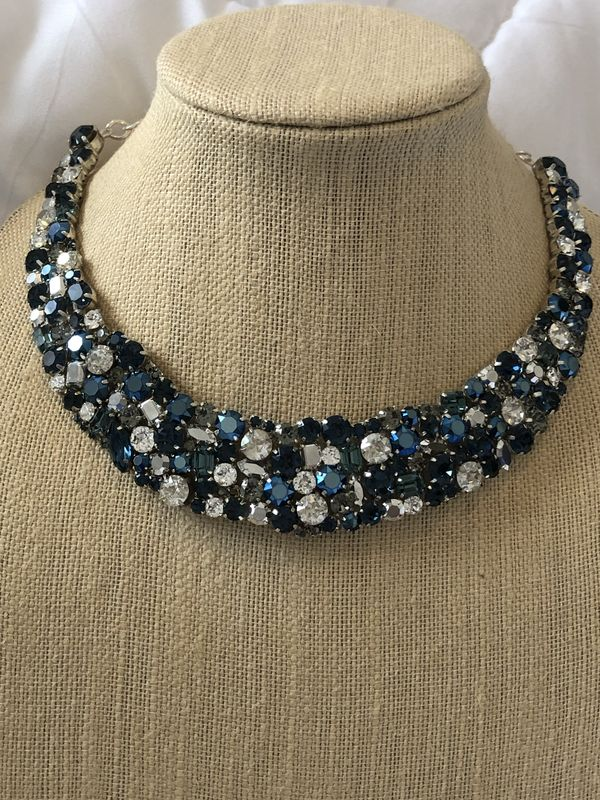 Navy Blue And Silver Crystal Statement Necklace The