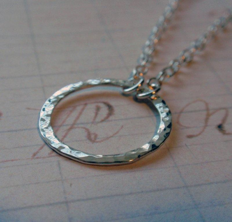bf53f9457ebf6 Eternity Circle Necklace in Sterling Silver Hammered Hoop in Medium Size