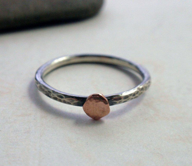 04ea506e6c557 14K Rose Gold and Oxidized Sterling Silver Ring Band Hammered Stacking Ring