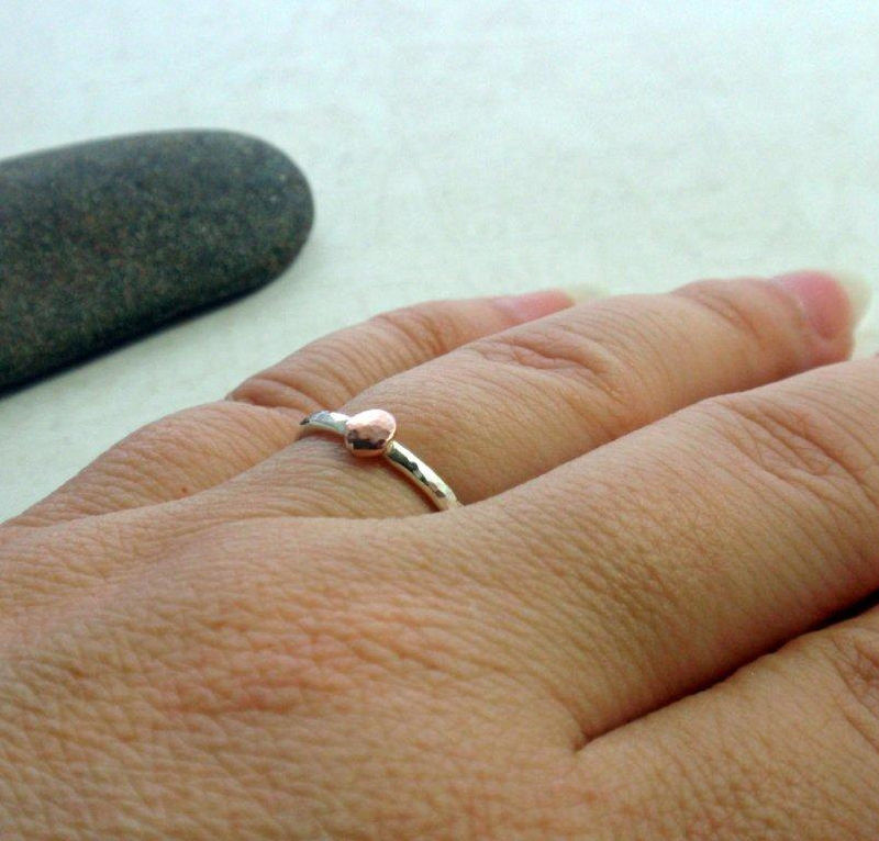4ce0c03f0c023 14K Rose Gold and Sterling Silver Ring Band Hammered Stacking Ring