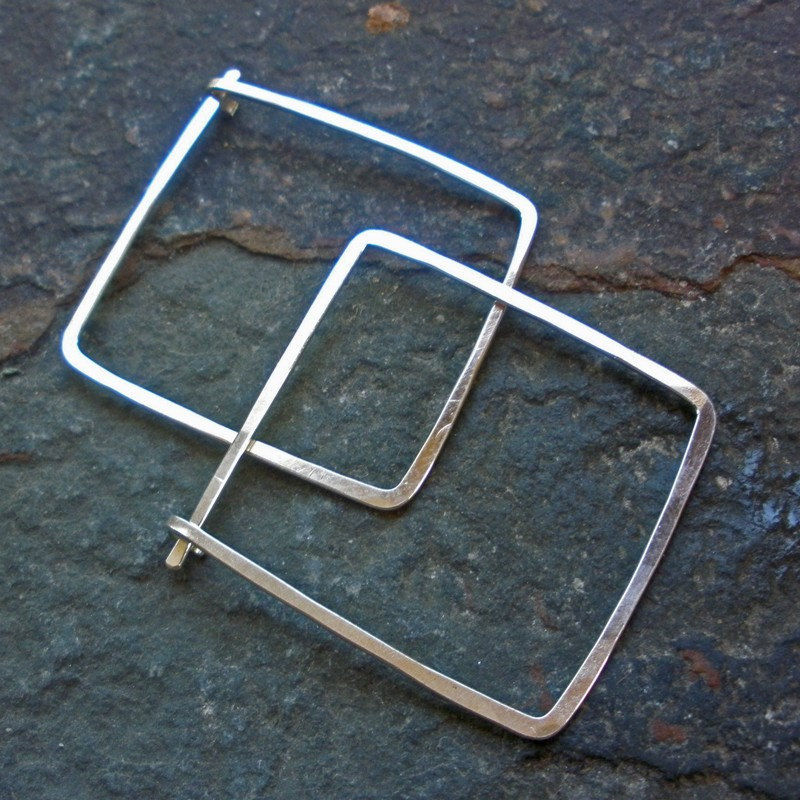 Sterling Silver Square Hoop Earrings 1 Product Images