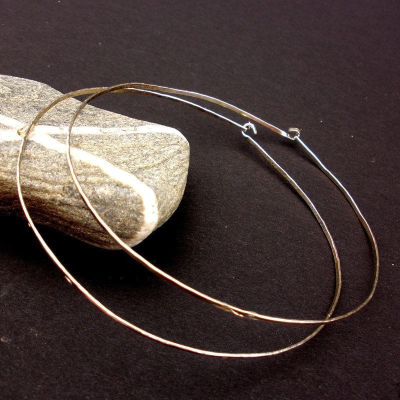 Sterling Silver Hoop Earrings Extra Large Hammered Hoops Product Images Of