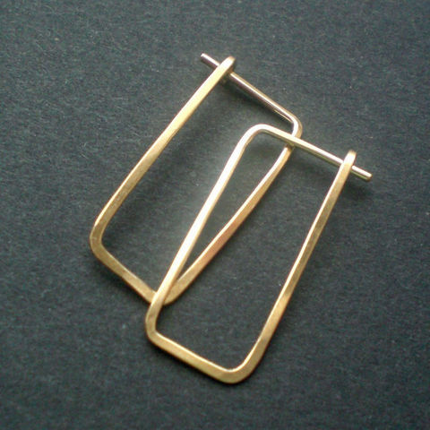 Gold Hoops Hammered 14 K Gold Fill Rectangle Earrings