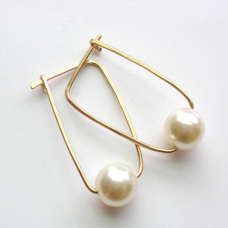 Ivory Pearl 14k Gold Fill Hoop Earrings Swarovski Crystal