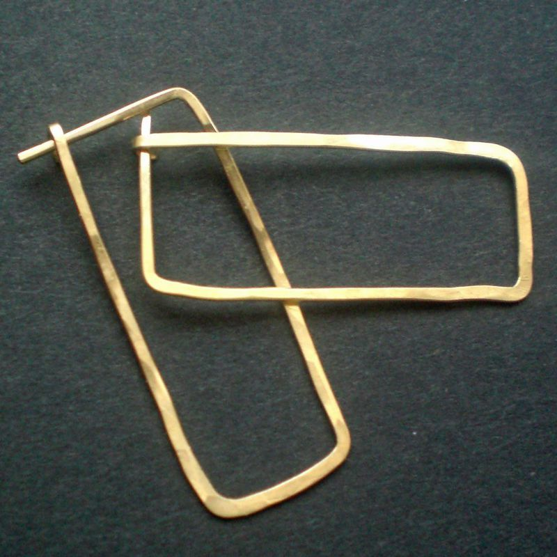 14k Gold Fill Hoop Earrings Rectangle Large Gustav