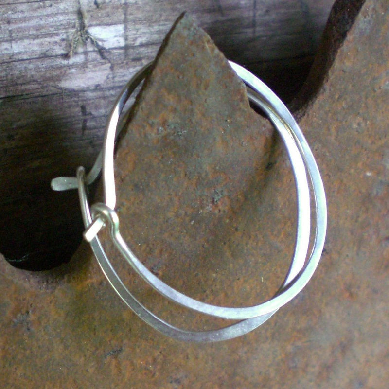 Sterling Silver Hoop Earrings Oval Hammered Product Images Of