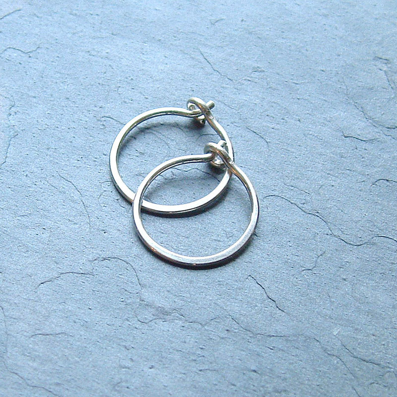 Small Sterling Silver Hoop Earrings Handmade Hoops Eco Friendly Jewelry K Davis Studios