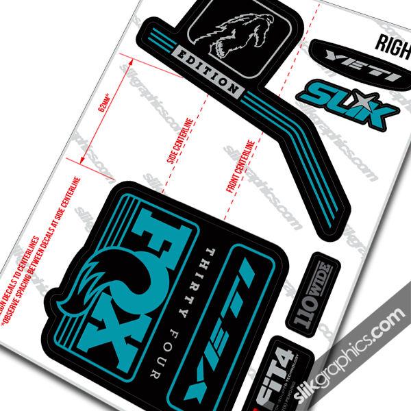Yeti Edition Decal Kit For Fox 2016 Forks Slik Graphics