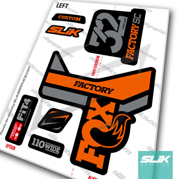 Fox 32 Step Cast Factory Style Decal Kit Black Forks