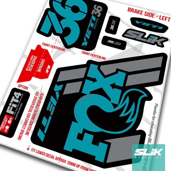 Fox 36 2018 Yeti Edition Decal Kit - Black Forks