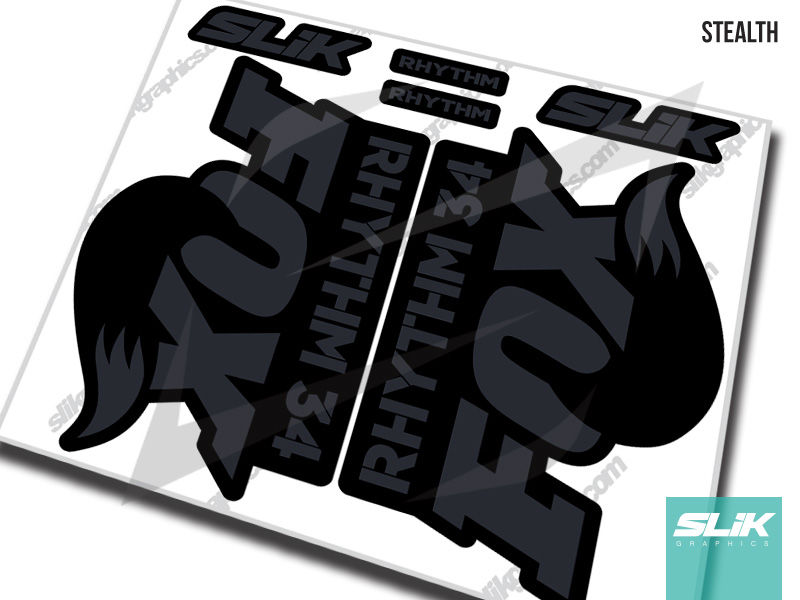 Fox 34 Rhythm Series Style Decal Kit - Black Forks