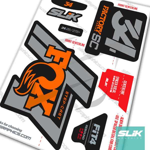 Fox 34 Step Cast Factory Style Decal Kit Black Forks