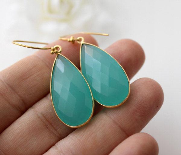 Long Aqua Chalcedony Earrings Blue Green Dangle Aqua