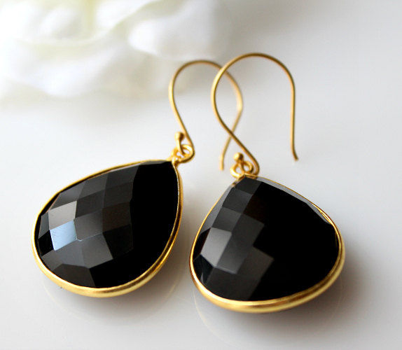 Medium Black Onyx Gold Drop Earrings Bezel Dangle Jet Gemstone 24k Vermeil Evening Wear Bygerene