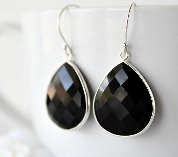 Medium Black Onyx Dangle Earrings 925 Sterling Silver Jet Bezel Gemstone Drops Jewelry Bygerene