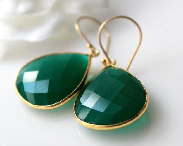 Medium Green Onyx Dangle Earrings Emerald Green Bezel