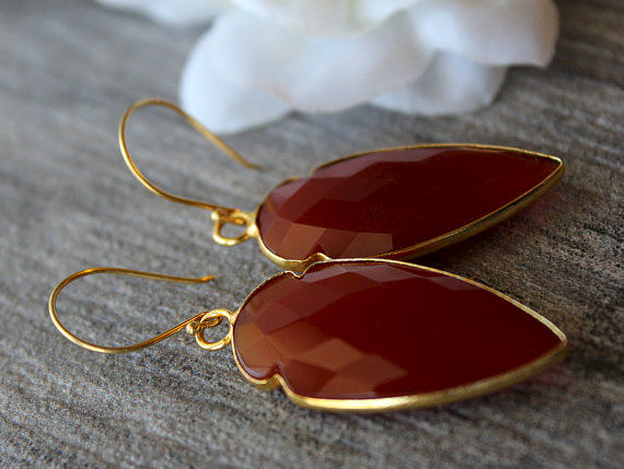 Arrow Red Carnelian Drop Earrings Burnt Dangle Gemstone Jewelry Dagger Bygerene