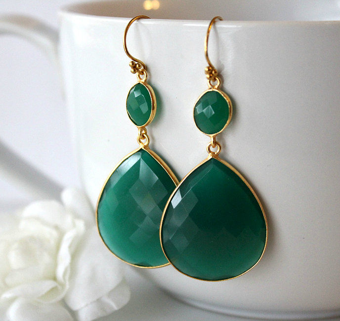 Xlarge Green Onyx Double Drop Green Earrings Green Onyx