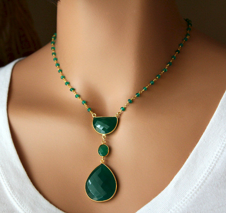 Long Green Onyx Pendant Necklace, Emerald Green, Green ... - photo#8