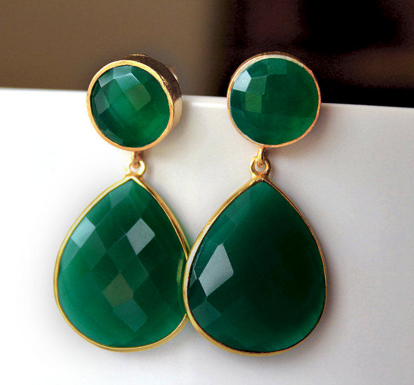 Green Onyx Double Drop Post Earrings Emerald Green