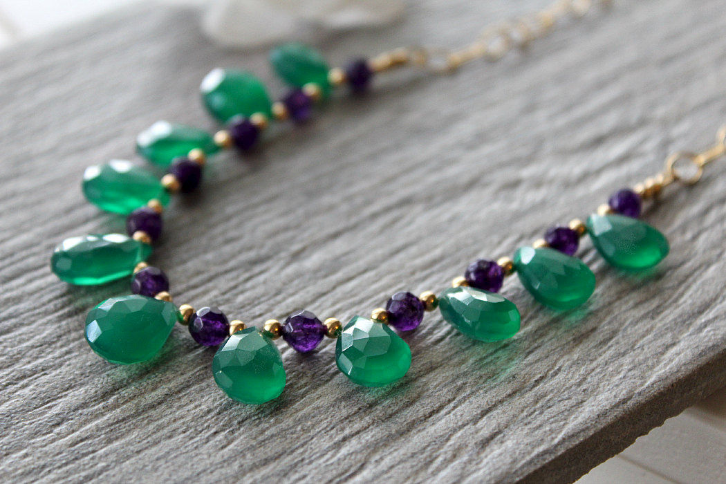 Green Onyx and Amethyst Necklace, Emerald Green, Green ... - photo#47