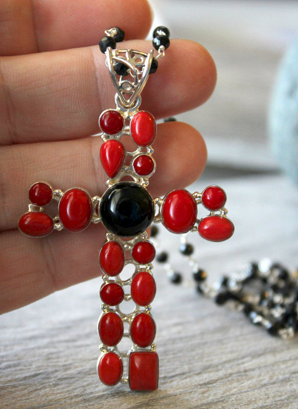 Huge Red Coral And Onyx Cross Pendant Necklace 925