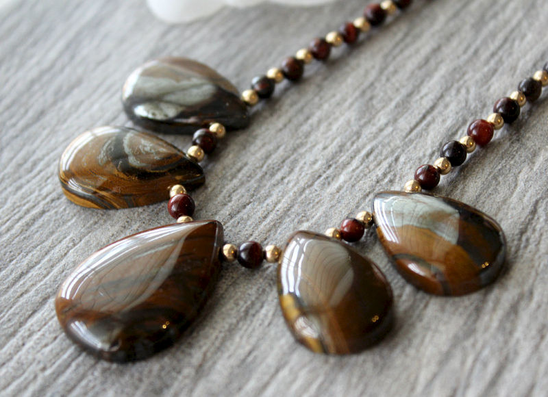 Tigers Eye Bib Necklace 14k Gold Filled Brown Stone