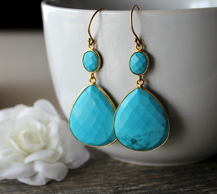 Extra Large Blue Turquoise Double Drop Earrings Genuine Stones Jewelry Gold Vermeil Dangles Bygerene