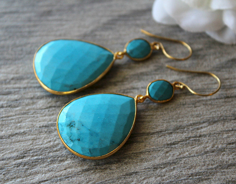 Extra Large Blue Turquoise Double Drop Earrings Genuine