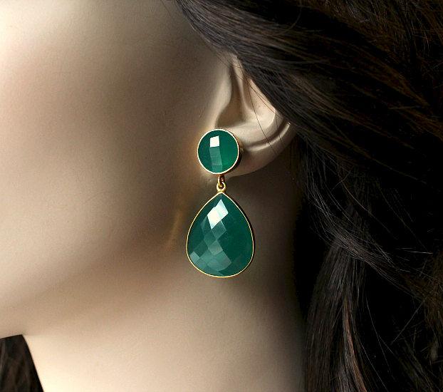 Double Drop Green Onyx Post Earrings Emerald Earring Dual Dangle Jewelry