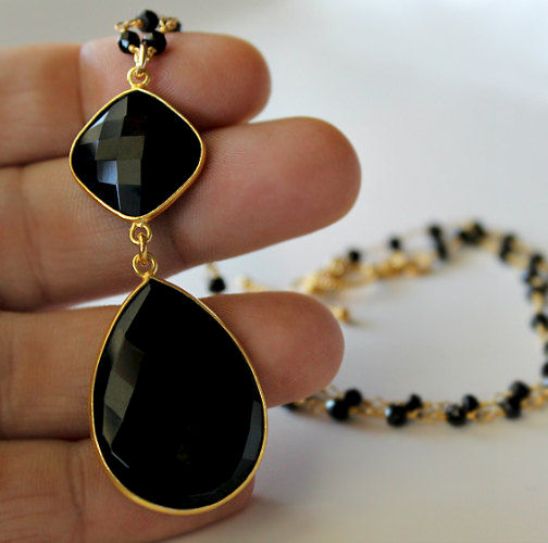 Rosary Style Black Onyx Pendant Necklace Jet Black