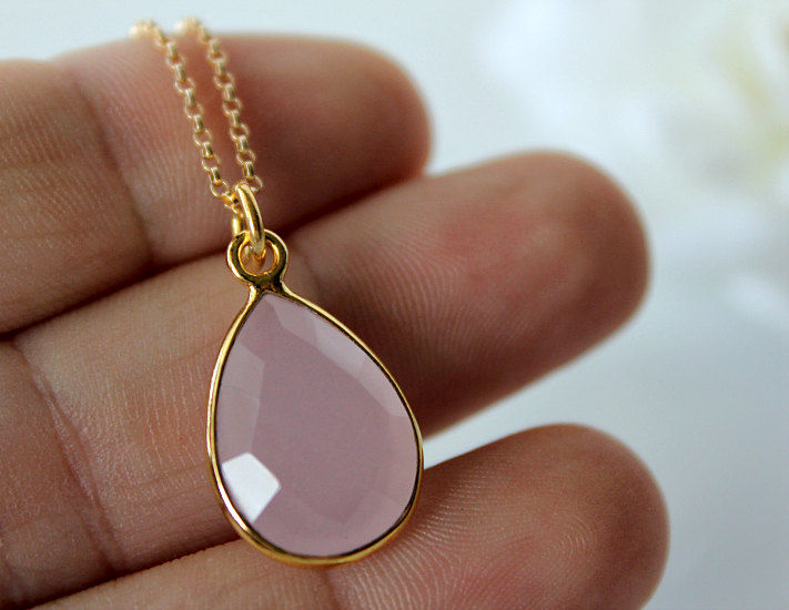 Rose Quartz Pendant Necklace Pink Quartz Gemstone Gold