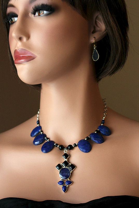 Huge Lapis Lazuli And Black Onyx Bib Pendant Necklace 925
