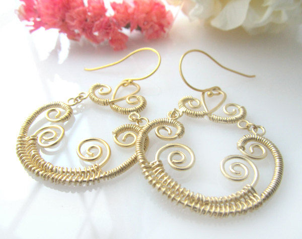 Gold Brass Chandelier Wire Wrapped Earrings Fancy Special Ocassion