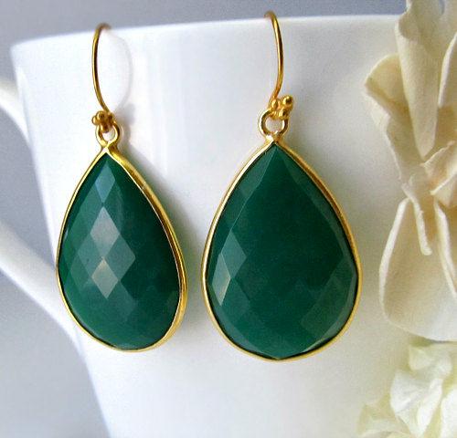 Large Natural Green Onyx Dangle Earrings Emerald Bezel Gemstone Gold Vermeil Drop Fashion Trend Teardrop Bygerene