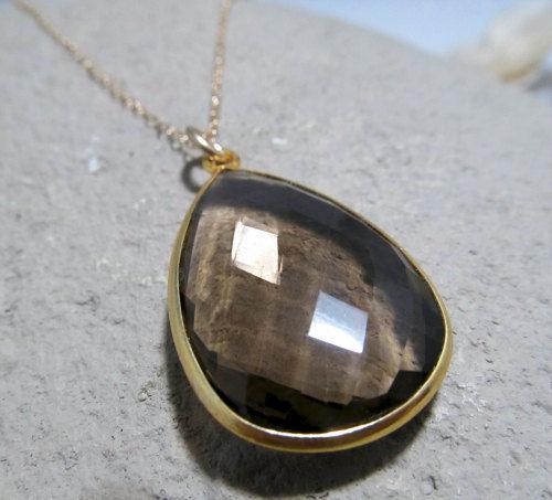 Large Smokey Quartz Pendant Necklace Brown Gemstone 14k