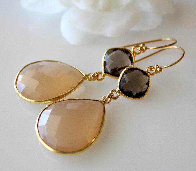 Long Beige Chalcedony Double Drop Earrings Smokey Quartz Gemstone Gold Vermeil Chamoise Sand Bygerene