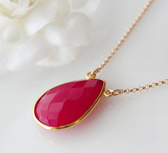 Fuschia Chalcedony Drop Pendant Necklace Dark Hot Pink Gemstone Gold Filled