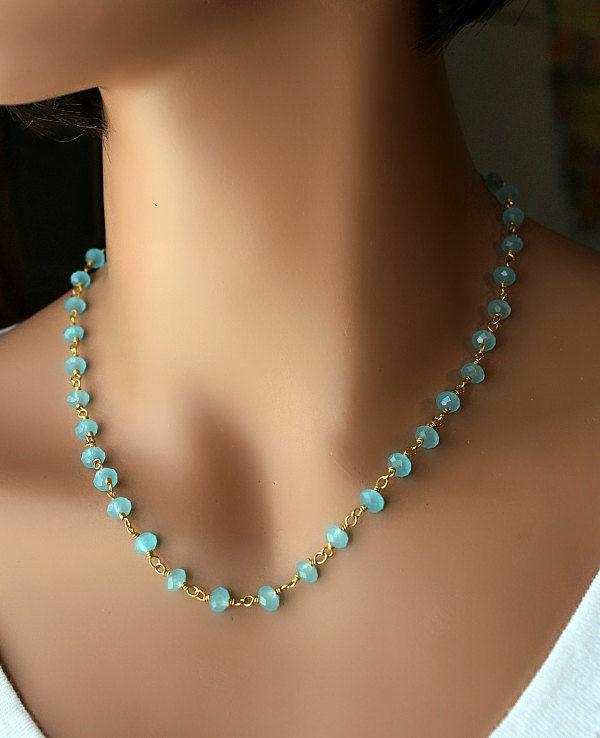 Aqua Chalcedony Beaded Strand Necklace Blue Gemstone