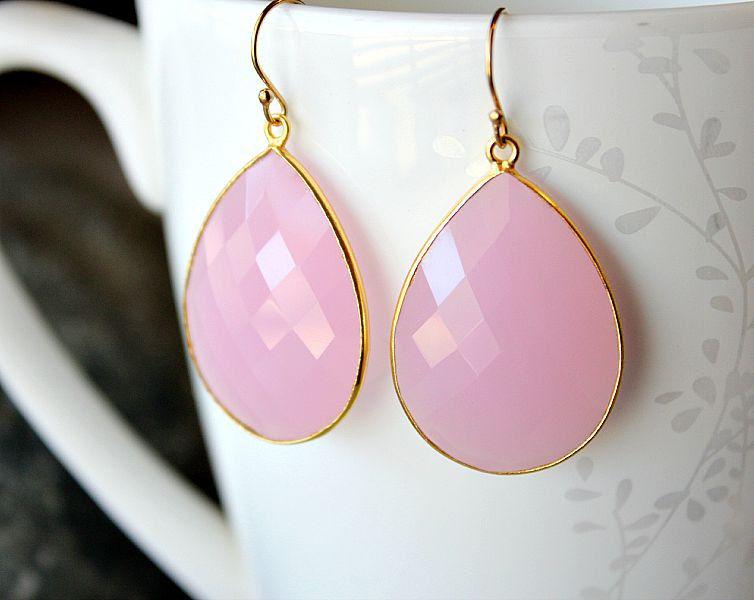 Large Cashmere Rose Drop Earrings Pink Quartz Dangle Linen Gemstone Milky Bezel Gold Vermeil Bygerene