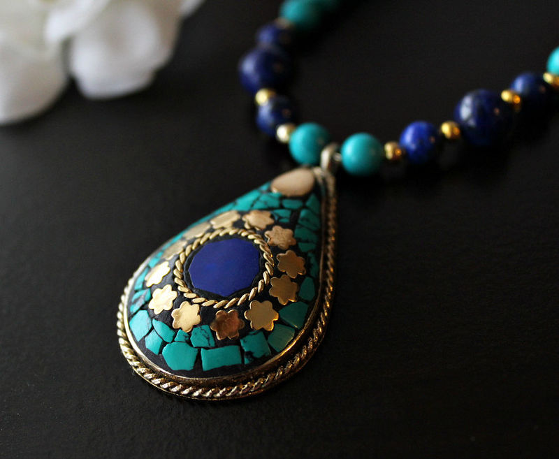 Lapis and Turquoise Statement Necklace Nepalese Lapis