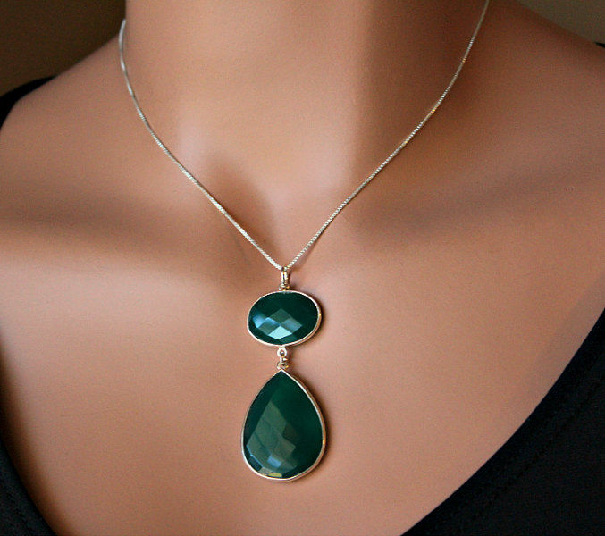 Green Onyx Pendant Sterling Necklace 925 Sterling Silver