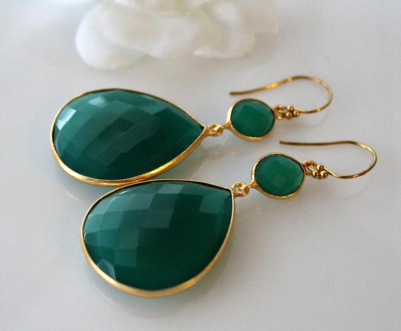 Xlarge Green Onyx Double Drop Earrings Dual Dangle Gold Vermeil Jewelry Bygerene