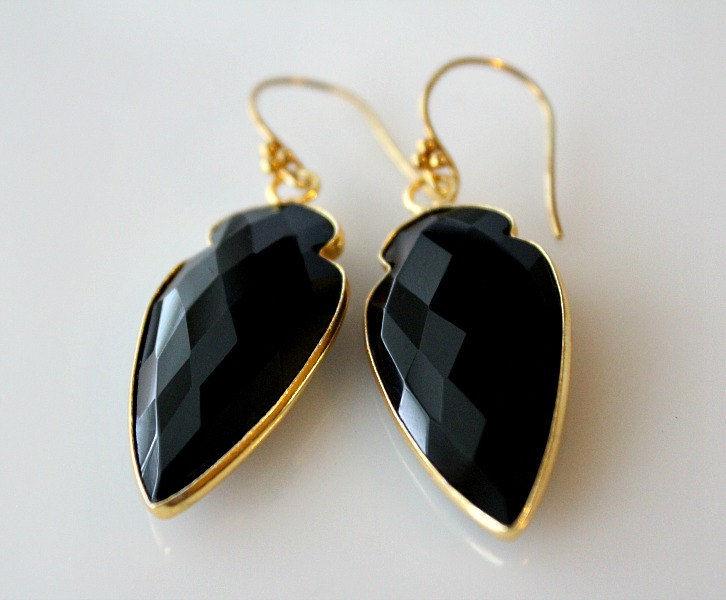 Arrow Head Black Onyx Drop Earrings Jet Gemstone Dangle Arrowhead Jewelry Dagger Bygerene